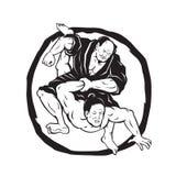Teckning för stridighet för samurajJiu Jitsu judon royaltyfri illustrationer