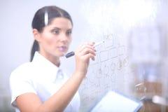 Teckning för ung kvinna på whiteboard med vit copyspace 15 woman young Arkivbilder