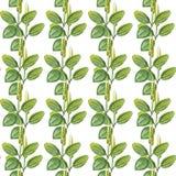 Teckning för vattenfärg för utdragen modell för hand sömlös av pisanget med gula blommor och gröna sidor som isoleras på den vita vektor illustrationer