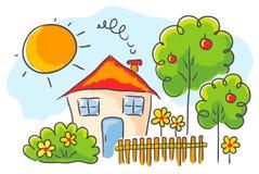 Teckning för barn` s av ett hus Royaltyfri Fotografi