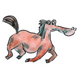 Teckning för tecknad film för vattenfärghäst som röd isoleras på a Royaltyfri Fotografi