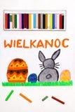 Teckning: Härligt polskt påskkort med easter ägg och den gulliga kaninen royaltyfri bild