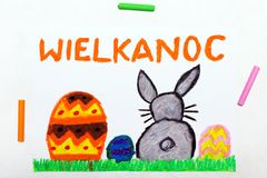 Teckning: Härligt polskt påskkort med easter ägg och den gulliga kaninen royaltyfri foto