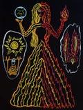 Teckning med gouache av en hednisk gud vektor illustrationer