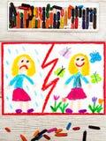 Teckning Motsatser: ledsen och lycklig flicka royaltyfri fotografi