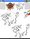Teckning och färgläggningarbetssedel med tjuren Royaltyfria Bilder
