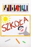 Teckning Polskt ord SKOLA och lycklig student arkivbild