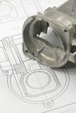 teckning som engineering den mekaniska delen Royaltyfri Bild