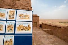 Teckningar av Ait Ben Haddou medeltida Kasbah i Marocko Arkivfoto