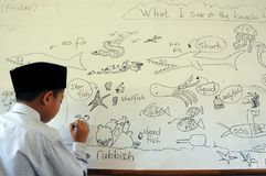 Teckningar av barn av Malaysia Arkivfoton