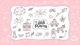 Teckningar för barn` s liten princess Uppsättning av klotterillustrationen, dragen hand Fotografering för Bildbyråer