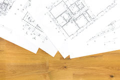 Teckningar för golvplan på träskrivbordet Royaltyfria Foton