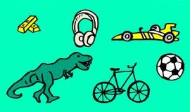 Teckningar om hobbyer med guld- stänger och en snabb bil för ungar också som är tillgängliga som en vektorteckning vektor illustrationer