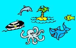 Teckningar om stranden och havet med en haj och en delfin för barn också som är tillgängliga som en vektorteckning royaltyfri illustrationer