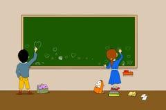 Teckningar på blackboarden Royaltyfri Bild