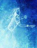 Teckningen av älvakonungen, blyertspenna skissar på papper, blå vintereffekt Arkivfoton