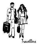 Teckningen av en man och kvinnahandelsresande går med bagage, skissar av endragen illustration Royaltyfri Foto