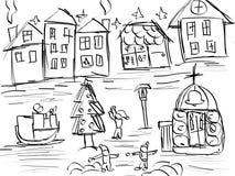 Teckningen för sagastadshanden skissar Royaltyfria Bilder