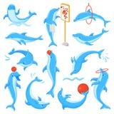 Teckningen för teckenet för delfinvektorseafish eller dolphinfishen som spelar den undersea illustrationsealifeuppsättningen av b royaltyfri illustrationer