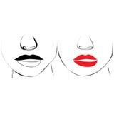 teckningen vänder den male smileysvektorn för kvinnlign mot Royaltyfri Bild