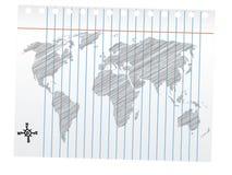teckningsöversiktsblyertspennan skissar världen Arkivbild
