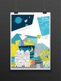 Teckningsaffisch Affisch för grafisk design illustration Royaltyfri Fotografi
