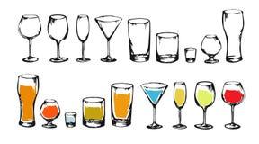 Teckningsalkohol dricker samlingen skissar royaltyfri illustrationer