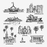 Teckningsaustralierstäder Skissa av stad vektor illustrationer