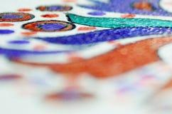Teckningsbakgrund med färgpennan Royaltyfria Bilder