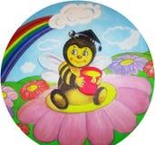 Teckningsbi med en hink av honung på en blomma Royaltyfri Bild