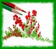 teckningsblommor stock illustrationer