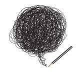 teckningsblyertspennan som är på måfå, klottrar Arkivbilder