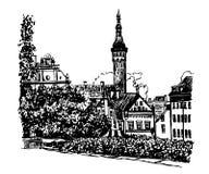 Teckningscityscapesikten av den gamla staden av Tallinn skissar illustrationen Arkivbilder