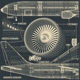 Teckningsfragment för borgerligt flygplan vektor illustrationer