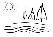 teckningsframsidan lines kvinnan Hav- eller havsstrand med träd Arkivbild