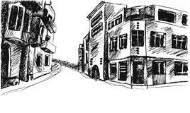 Teckningsgata Vektorn skissar Royaltyfri Fotografi