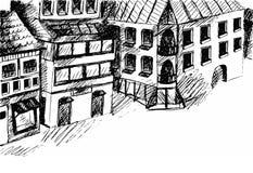 Teckningsgata Vektorn skissar Arkivbild