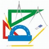 teckningsgeometriinstrument Royaltyfri Bild