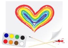 teckningshjärtaregnbåge stock illustrationer