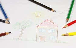teckningshus Royaltyfria Bilder