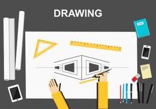 Teckningsillustration Planlägg och model min äga Plana designillustrationbegrepp för konstruktion, arbete, teckning som är arkite Royaltyfri Foto