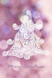 Teckningsjulgran med rosa bokehbakgrunder för jul Arkivfoton