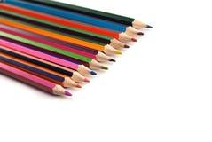 Teckningsmaterial: blyertspennor av olika färger Arkivfoto