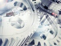 Teckningsmaterial med den watchworkhjul och räknemaskinen Arkivfoton