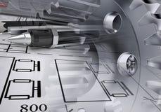 Teckningsmaterial med watchworkhjul Arkivfoton