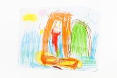 Teckningssjöjungfrubarn fyra år isolerade blyertspennor Royaltyfri Bild