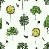 Teckningsskogbakgrund med träd vektor illustrationer