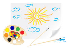 teckningssun stock illustrationer