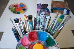 Teckningsutrustning, konst Royaltyfria Bilder