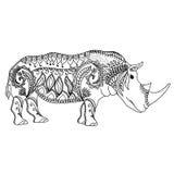 Teckningszentangle inspirerade noshörningen för att färga sidan, skjortadesigneffekt, logo, tatueringen och garnering stock illustrationer